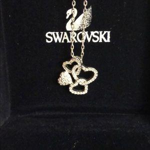 swarovski four heart necklace